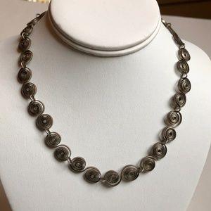 Vintage Necklace - Silver-Tone Spirals